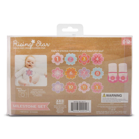 Rising Star Milestone Photo Prop Flower Stickers and Booties Gift Set, Baby Girls, Age 0-12M - Accessory Place