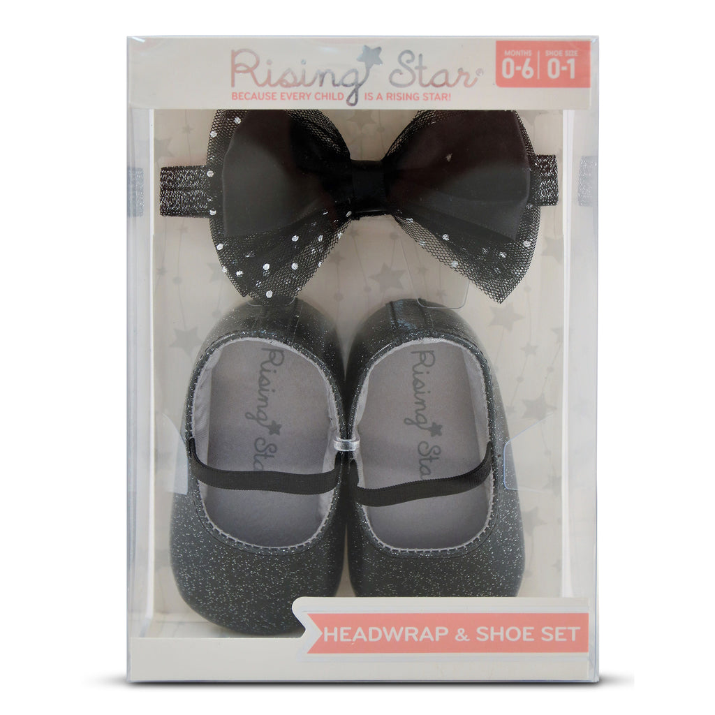 Rising Star Baby Girls Glitter Shoe and Headband Set,Silver, Black,Gold,Pink, Age 0-6M, 6-12M - The Accessories Outlet