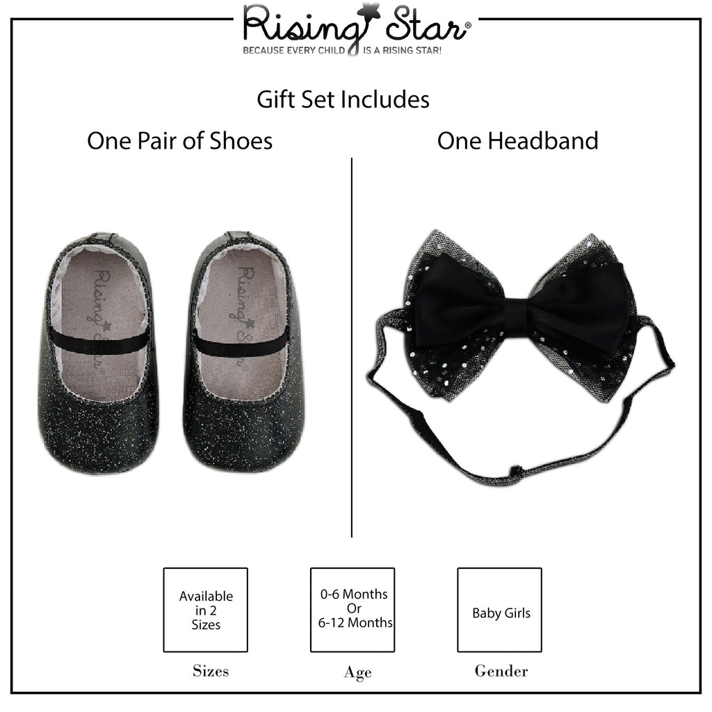 Rising Star Baby Girls Metalic Shoes and Headband Gift Set Age 0-12M