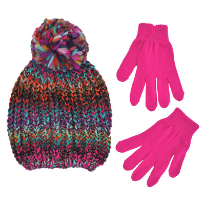 ABG Accessories Winter Beanie Hat and Gloves Cold Weather Set, Little Girls, Age 4-7 - The Accessories Outlet