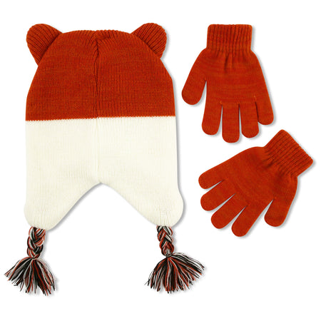 ABG Accessories Kitty Critter Hat and Gloves Cold Weather Set, Little Girls, Age 4-7 - The Accessories Outlet