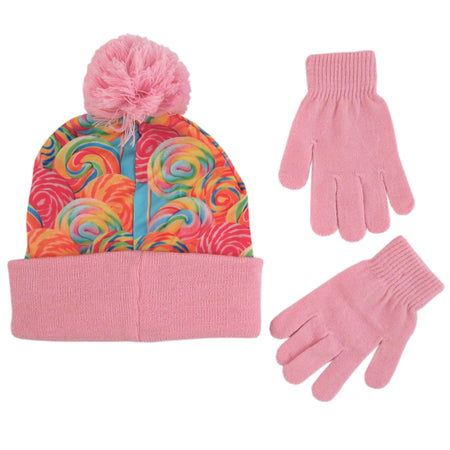 ... ABG Accessories Cuffed Beanie Hat and gloves Cold Weather Set d35dde890956
