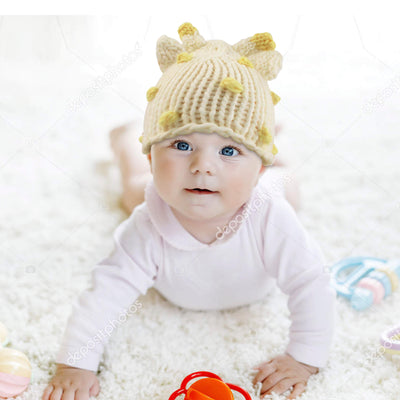 ABG Accessories Baby Boys Giraffe Chunky Knit Beanie and Matching Mittens Set, White, 0-12 Months - The Accessories Outlet