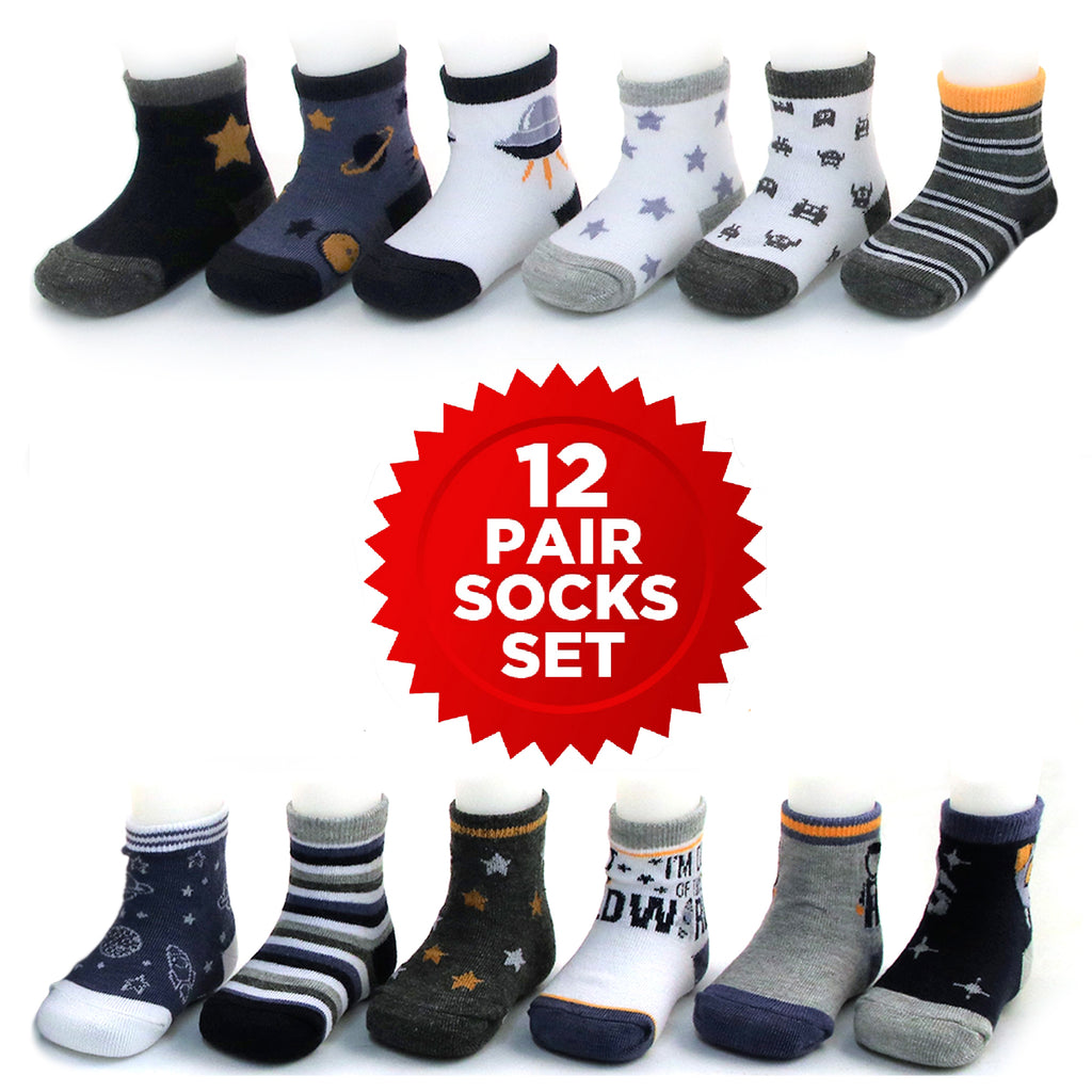 Rising Star Baby Boys Assorted Color Designs 12 Pair Socks Set, Age 0-24 Months - The Accessories Outlet