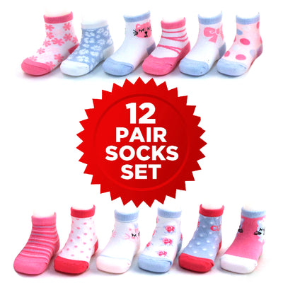 Rising Star Baby Girls Assorted Color Designs 12 Pair Socks Set, Age 0-24 Months - The Accessories Outlet