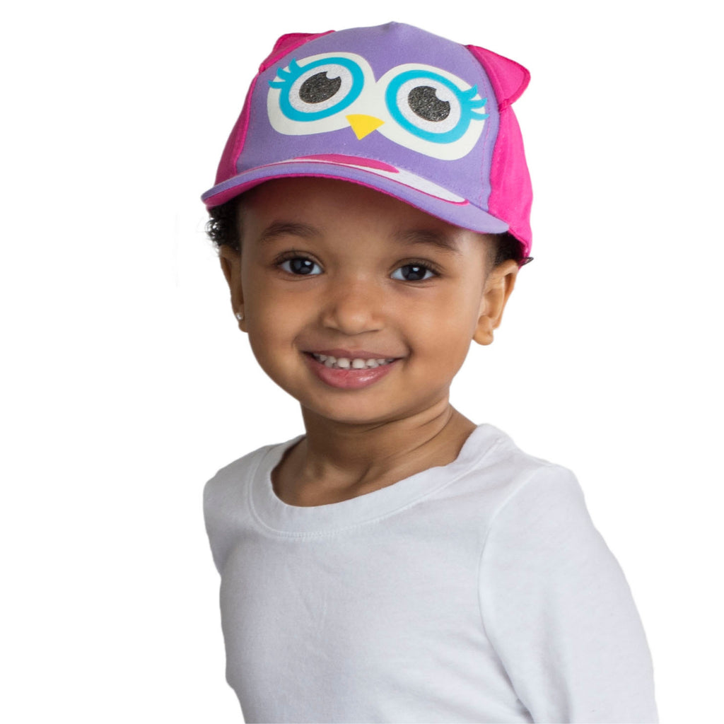 ABG Accessories Girls Cotton Baseball Caps with 3D Animal Critters Ages 2-4