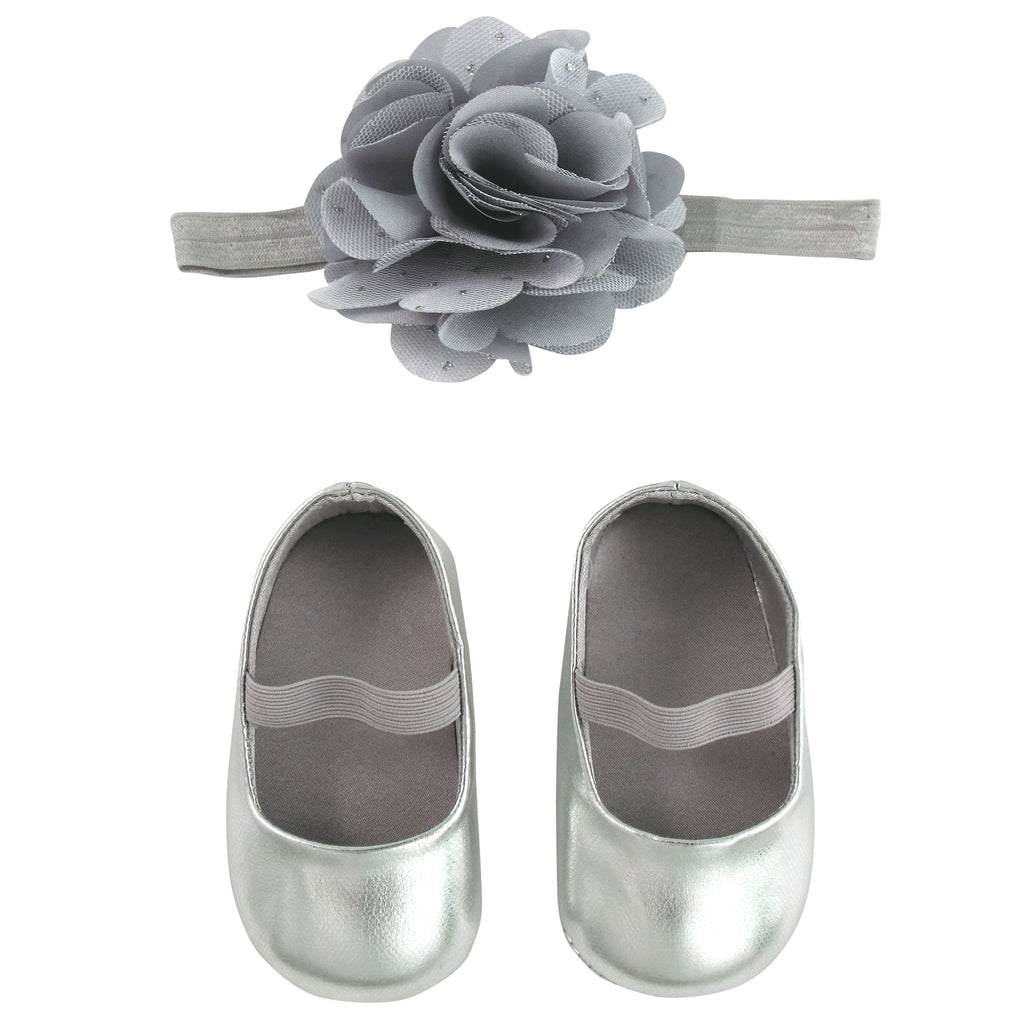 Rising Star Baby Girls Metallic Shoe and Flower Headband Gift Box Set, Assorted Colors, Age 0-6M, 6-12M - The Accessories Outlet