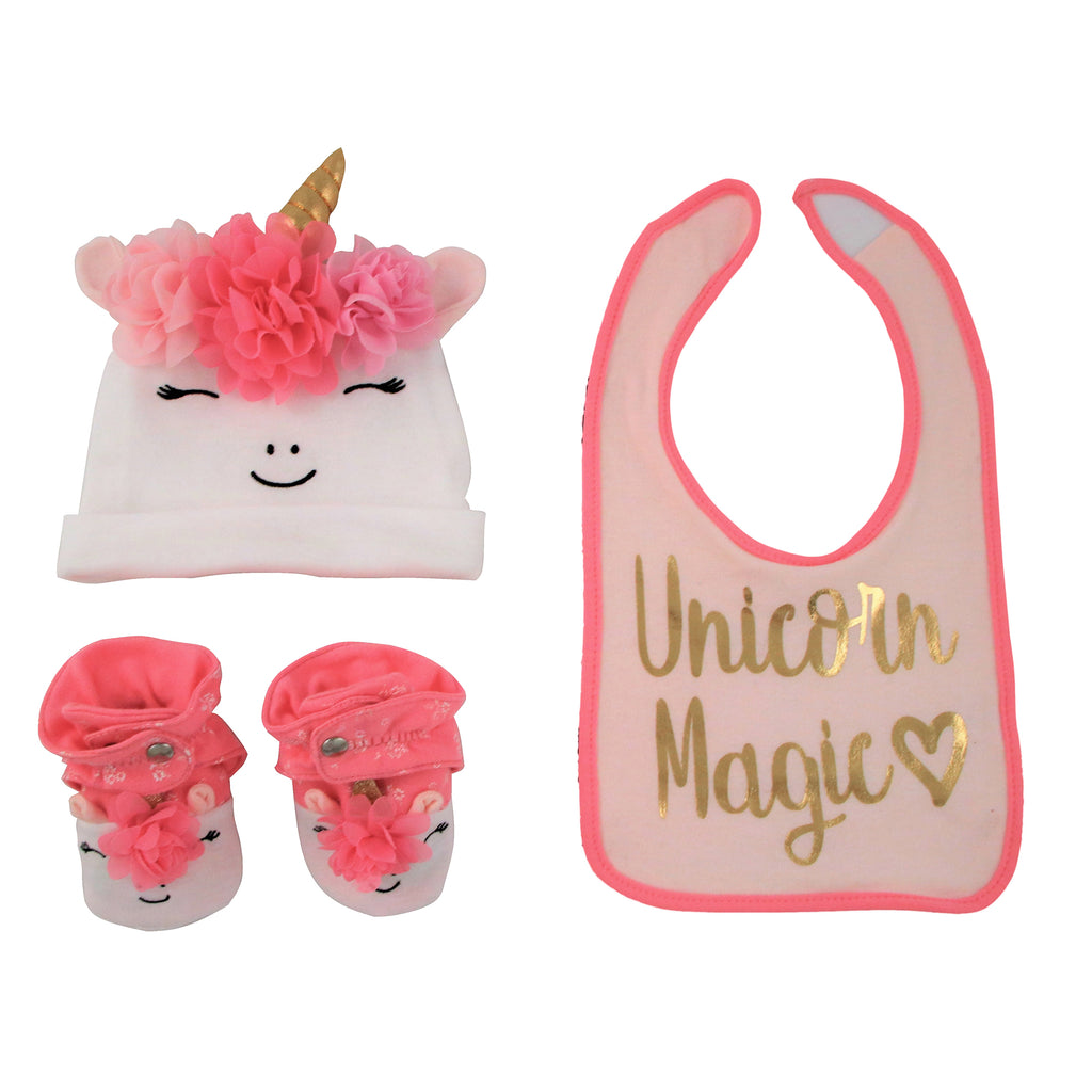 Rising Star Baby Girl Unicorn Hat, Bib, and Bootie Gift Box Set, Pink and White, Age 6-12M - The Accessories Outlet