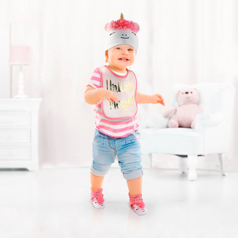 Rising Star Baby Girl Unicorn Hat, Bib, and Bootie Gift Box Set, Pink and White, Age 6-12M - Accessory Place