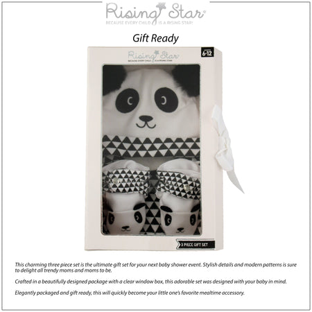 Rising Star Panda Bear Hat, Bib, and Bootie Gift Box Set, Black and White, Baby Boy Age 6-12M - The Accessories Outlet