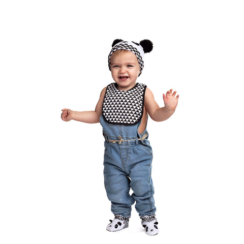 Rising Star Panda Bear Hat, Bib, and Bootie Gift Box Set, Black and White, Baby Boy Age 6-12M