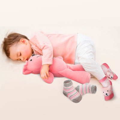 Rising Star Baby Girl Knit Toy Bear with 3D Socks Gift Box Set, Pink, Ages 0-12 Months: - The Accessories Outlet