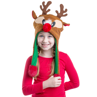 ABG Accessories Ugly Christmas Reindeer Squeeze and Flap Fun Christmas Hat 4de65d53bf24