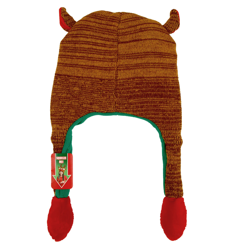 ABG Accessories Ugly Christmas Reindeer Squeeze and Flap Fun Christmas Hat, Unisex, Age 4-7 - The Accessories Outlet