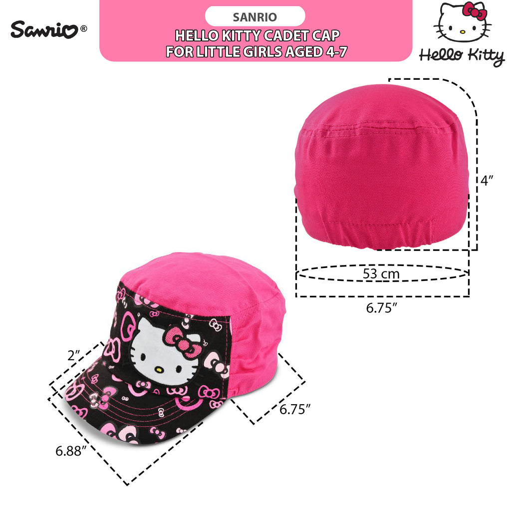 Sanrio Hello Kitty Cadet Hat with Satin Character Patch, Multi-Color, Little Girls, Age 4-7 - The Accessories Outlet
