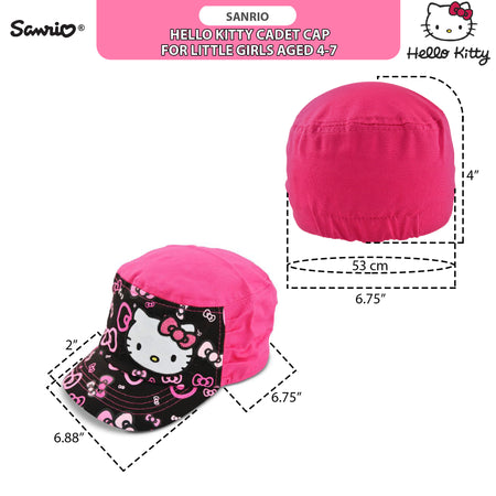 Sanrio Hello Kitty Cadet Hat with Satin Character Patch, Multi-Color, Little Girls, Age 4-7