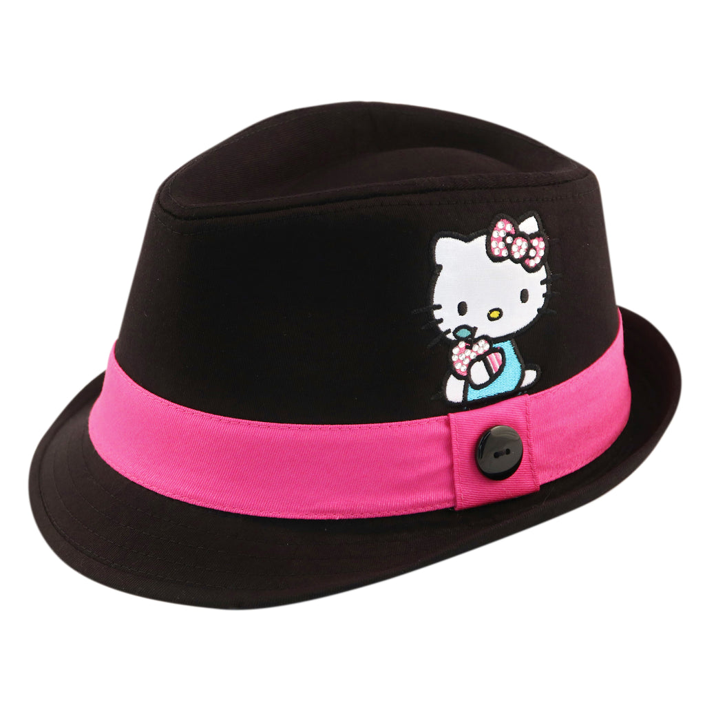 Sanrio Hello Kitty Cotton Fedora with Satin Character Patch, Black, Little Girls, Age 4-7 - Accessory Place