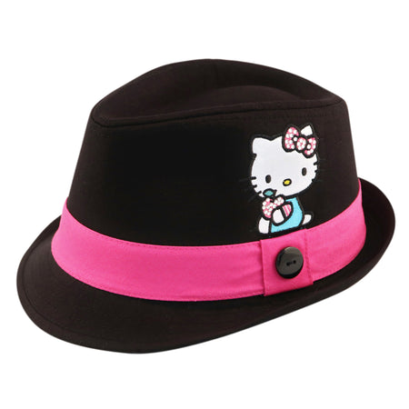 Sanrio Hello Kitty Cotton Fedora with Satin Character Patch, Black, Little Girls, Age 4-7