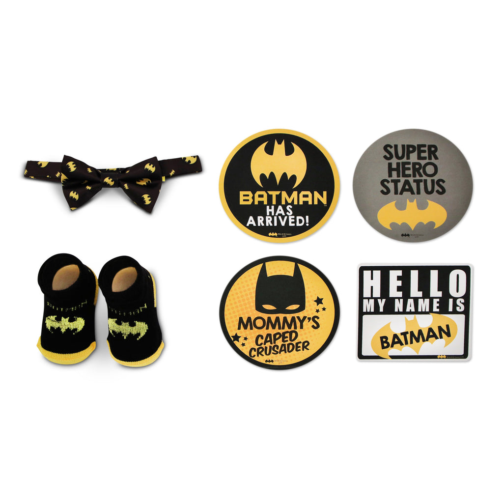 DC Comics Batman Milestone Stickers with Bowtie and Terry Booties Gift Set, Baby Boys, Age 0-12M - The Accessories Outlet