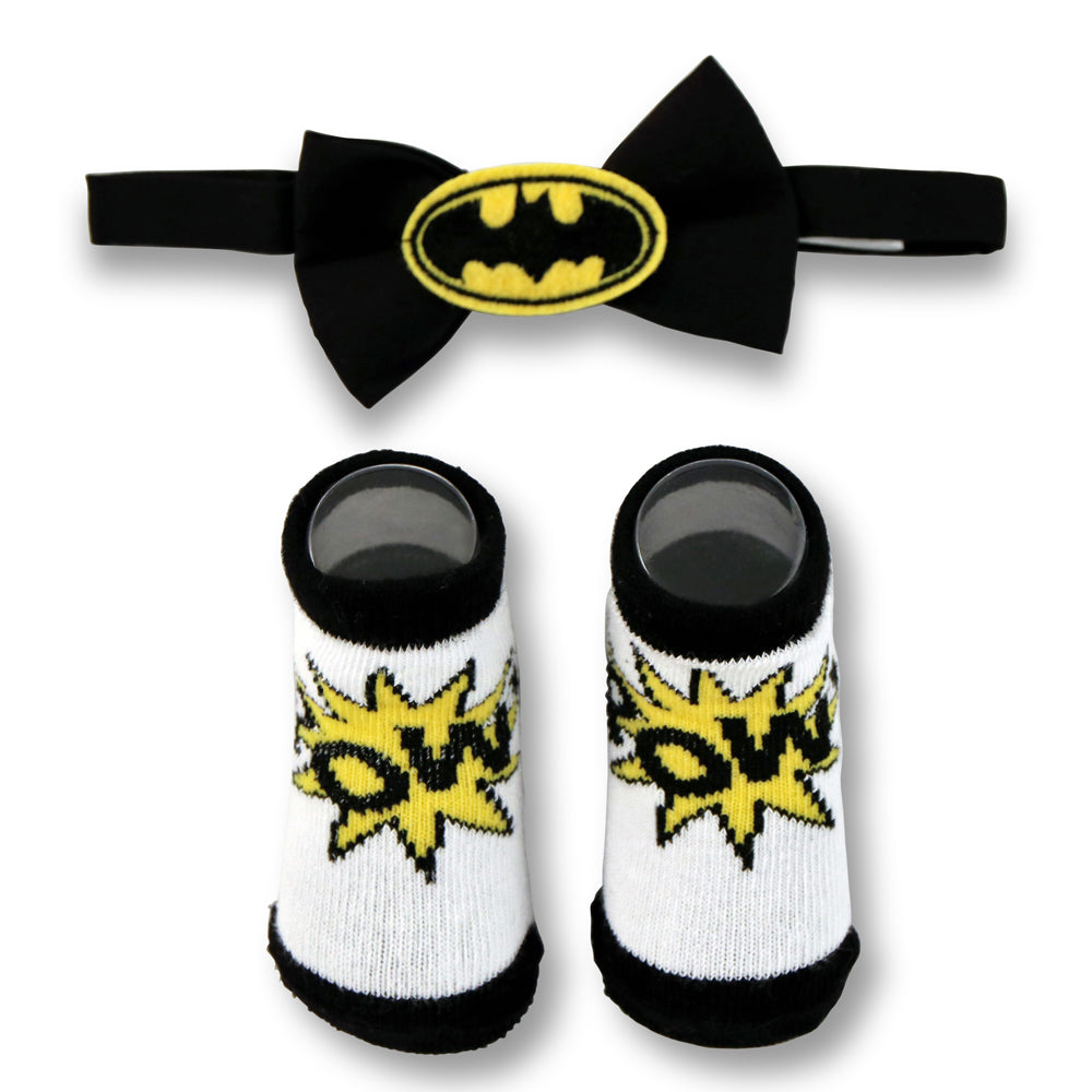 DC Comics Baby Boys Batman Character Bow Tie and Socks Gift Set, Black and White, Age 0-12M - The Accessories Outlet