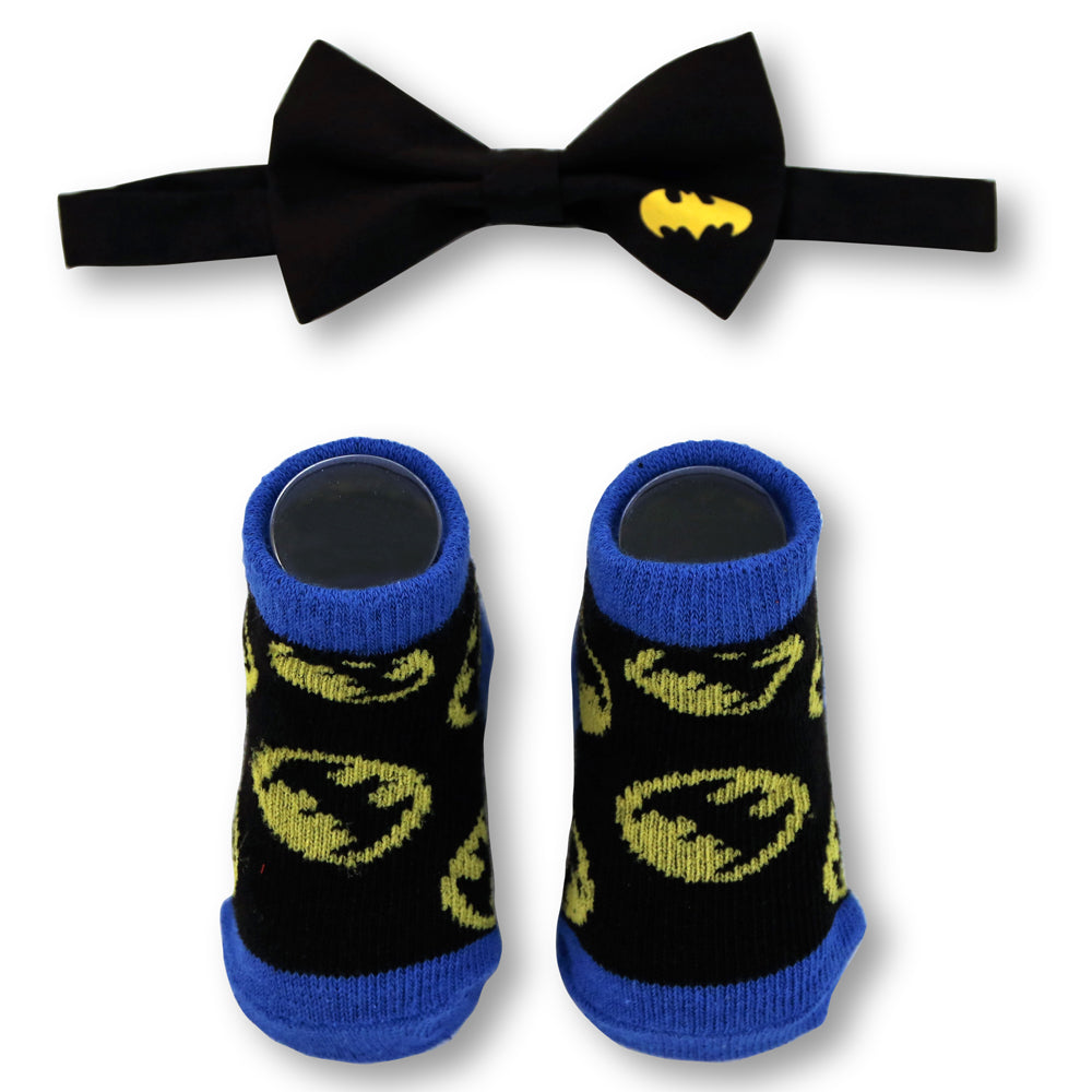DC Comics Baby Boys Batman Character Bow Tie and Socks Gift Set, Age 0-12M - The Accessories Outlet
