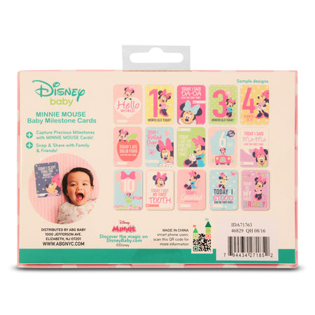 Disney Minnie Mouse Milestone Photo Sharing Two Sided Print Cards Gift Set, Baby Girls, Age 0-12M - Accessory Place