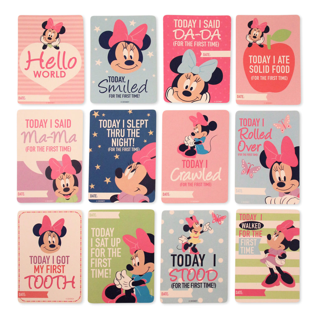 Disney Minnie Mouse Milestone Photo Sharing Two Sided Print Cards Gift Set, Baby Girls, Age 0-12M - The Accessories Outlet