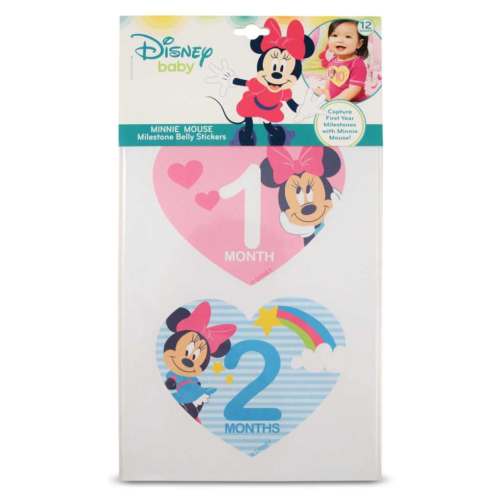 Disney Minnie Mouse Milestone Monthly Photo Prop Belly Stickers Gift Set, Baby Girls, Age 0-12M - The Accessories Outlet