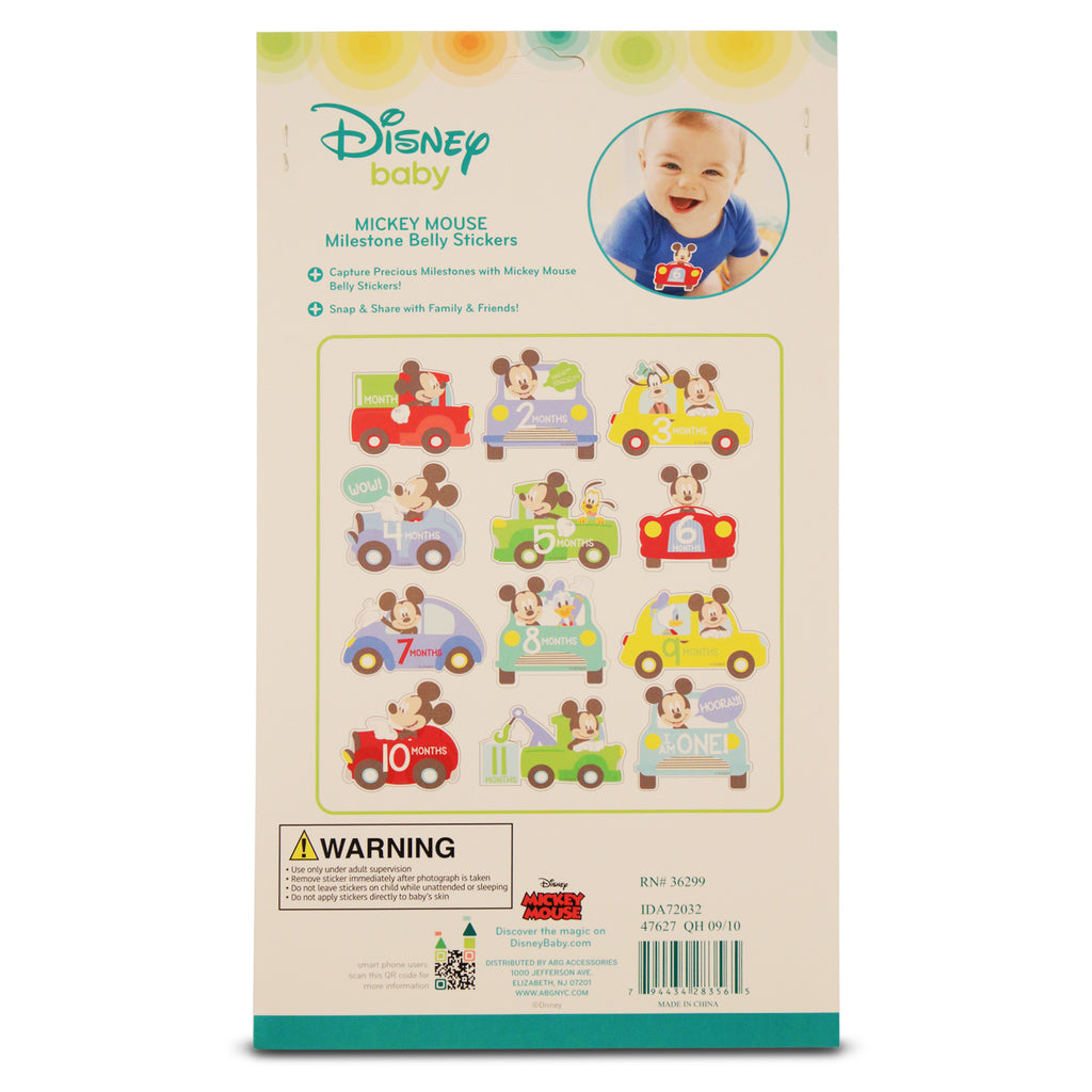 Disney Mickey Mouse Milestone Monthly Photo Prop Belly Stickers Gift Set, Baby Boys, Age 0-12M - Accessory Place