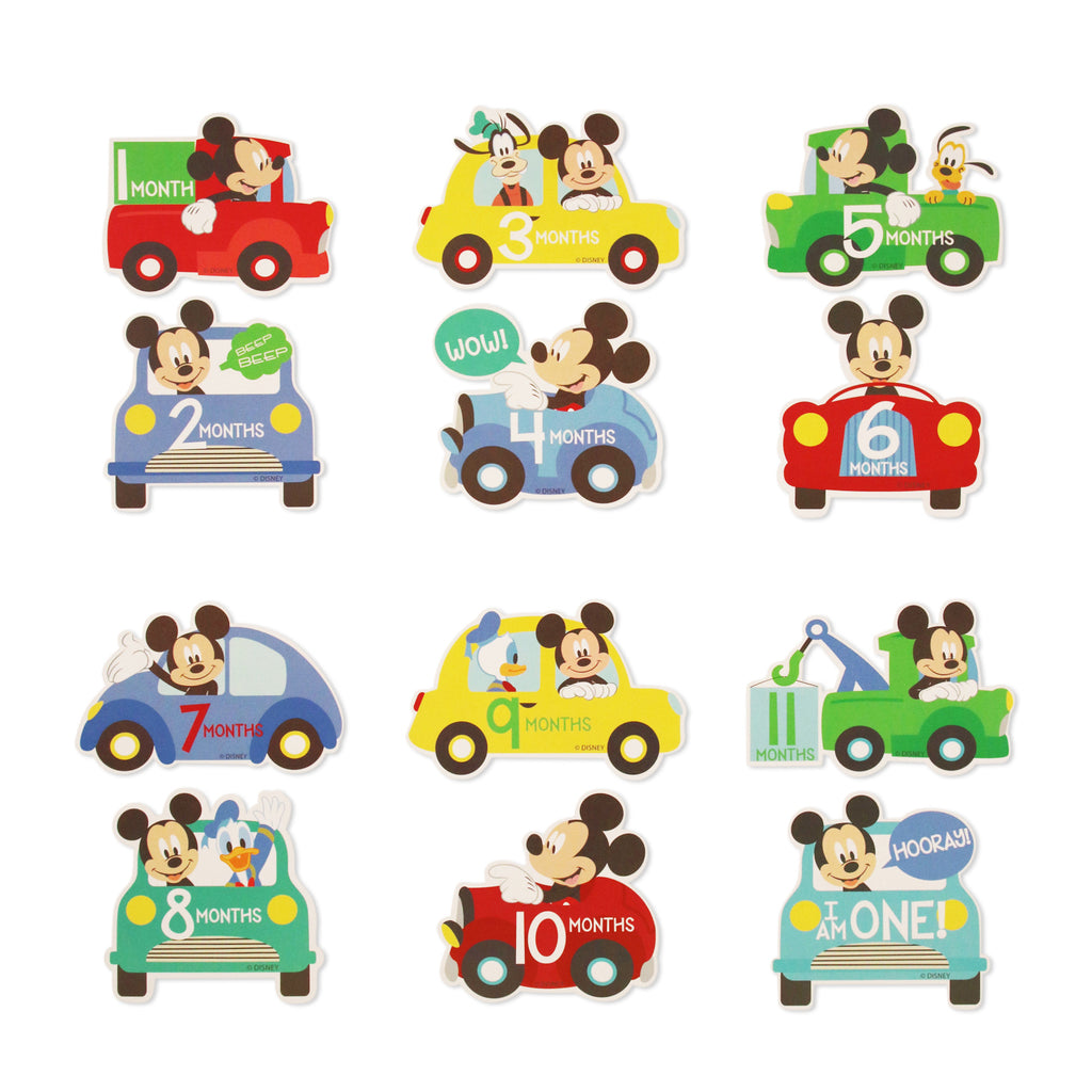 Disney Mickey Mouse Milestone Monthly Photo Prop Belly Stickers Gift Set, Baby Boys, Age 0-12M - The Accessories Outlet