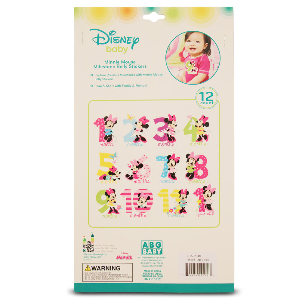 Disney Minnie Mouse Milestone Monthly Photo Sharing Belly Stickers Gift Set, Baby Girls, Age 0-12M - Accessory Place