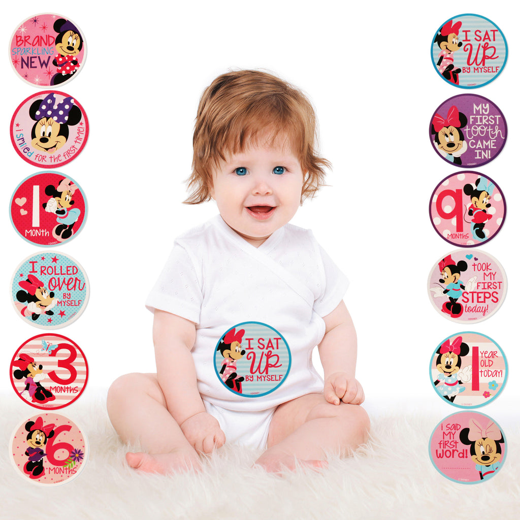 Disney Minnie Mouse Milestone Photo Prop Belly Stickers Gift Set, Baby Girls, Age 0-12M - The Accessories Outlet