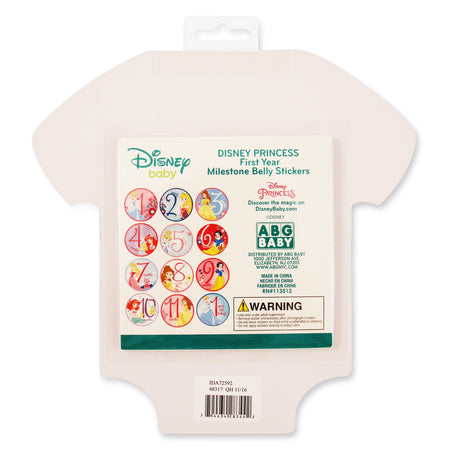 Disney Princess Milestone Monthly Photo Prop Belly Stickers Gift Set, Baby Girls, Age 0-12M - Accessory Place