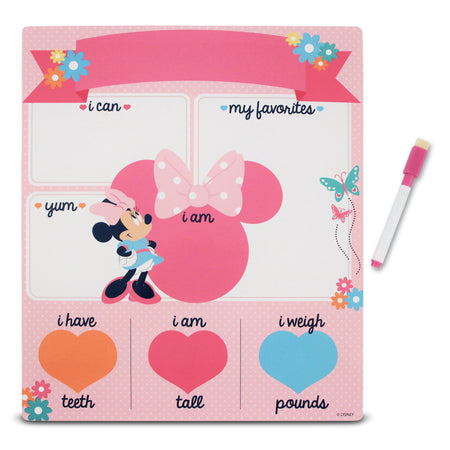 Disney Minnie Mouse Milestone Photo Prop Dry Erase Board Gift Set, Baby Girls, Age 0-24M - The Accessories Outlet