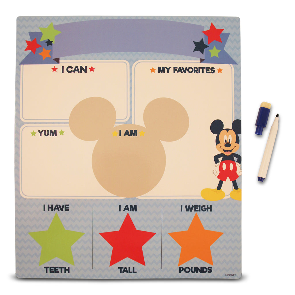 Disney Mickey Mouse Milestone Photo Prop Dry Erase Board Gift Set, Baby Boys, Age 0-24M - The Accessories Outlet