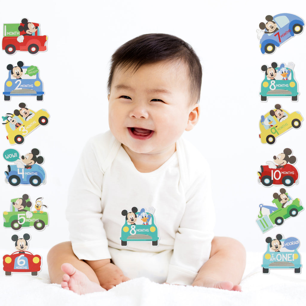 Disney Mickey Mouse Milestone Monthly Photo Prop Belly Stickers Set, Baby Boys, Age 0-12M - The Accessories Outlet