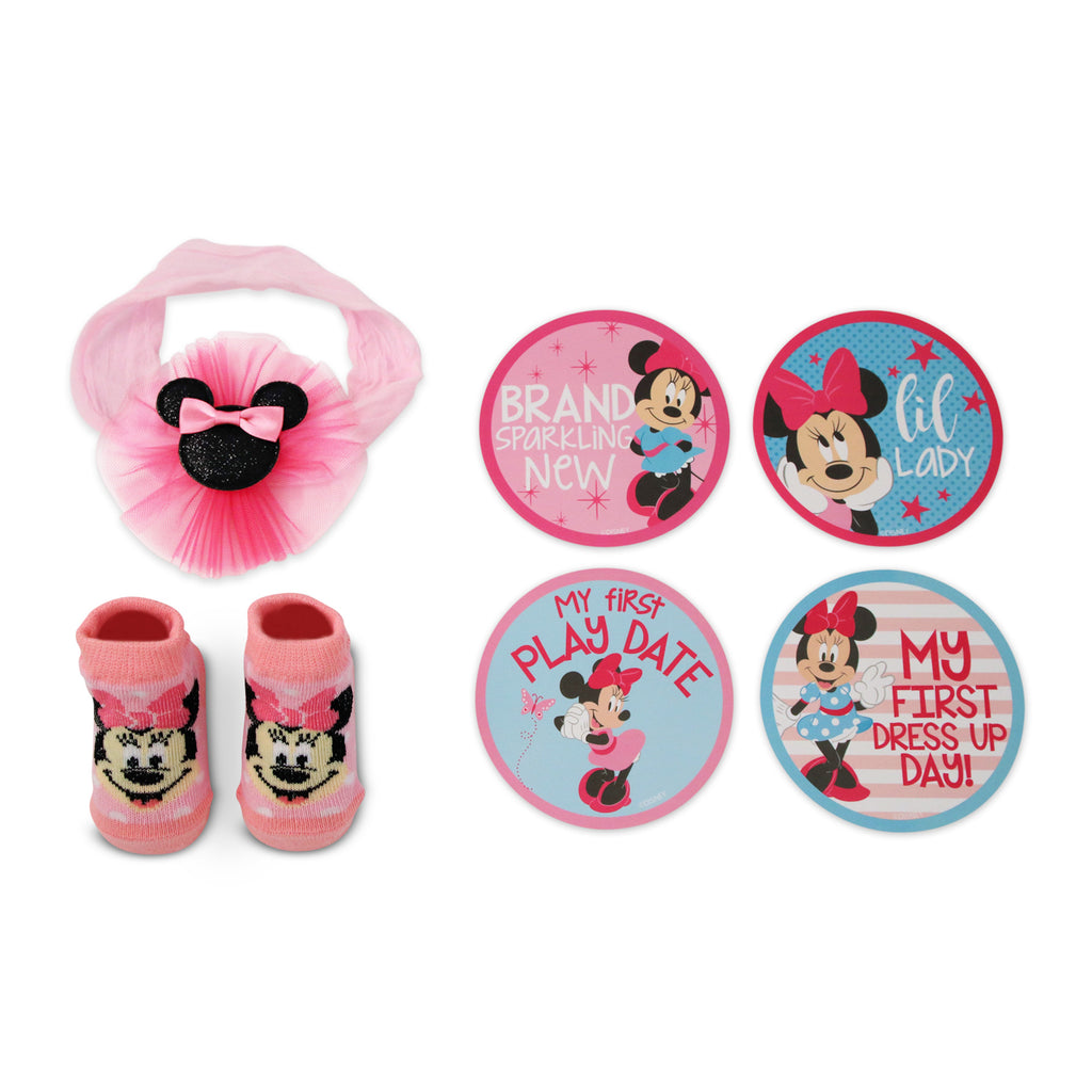 Disney Minnie Mouse Milestone Stickers Headwrap and Bootie Gift Set, Baby Girls, Age 0-12M - The Accessories Outlet