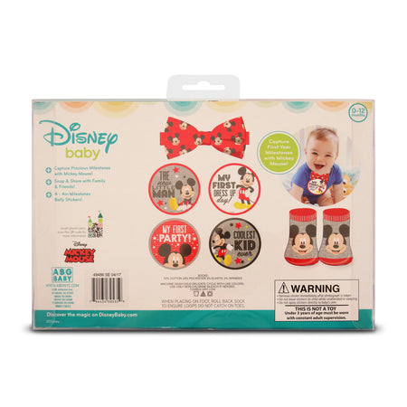 Disney Mickey Mouse Milestone Stickers Bowtie and Booties Gift Set, Baby Boys, Age 0-12M - The Accessories Outlet