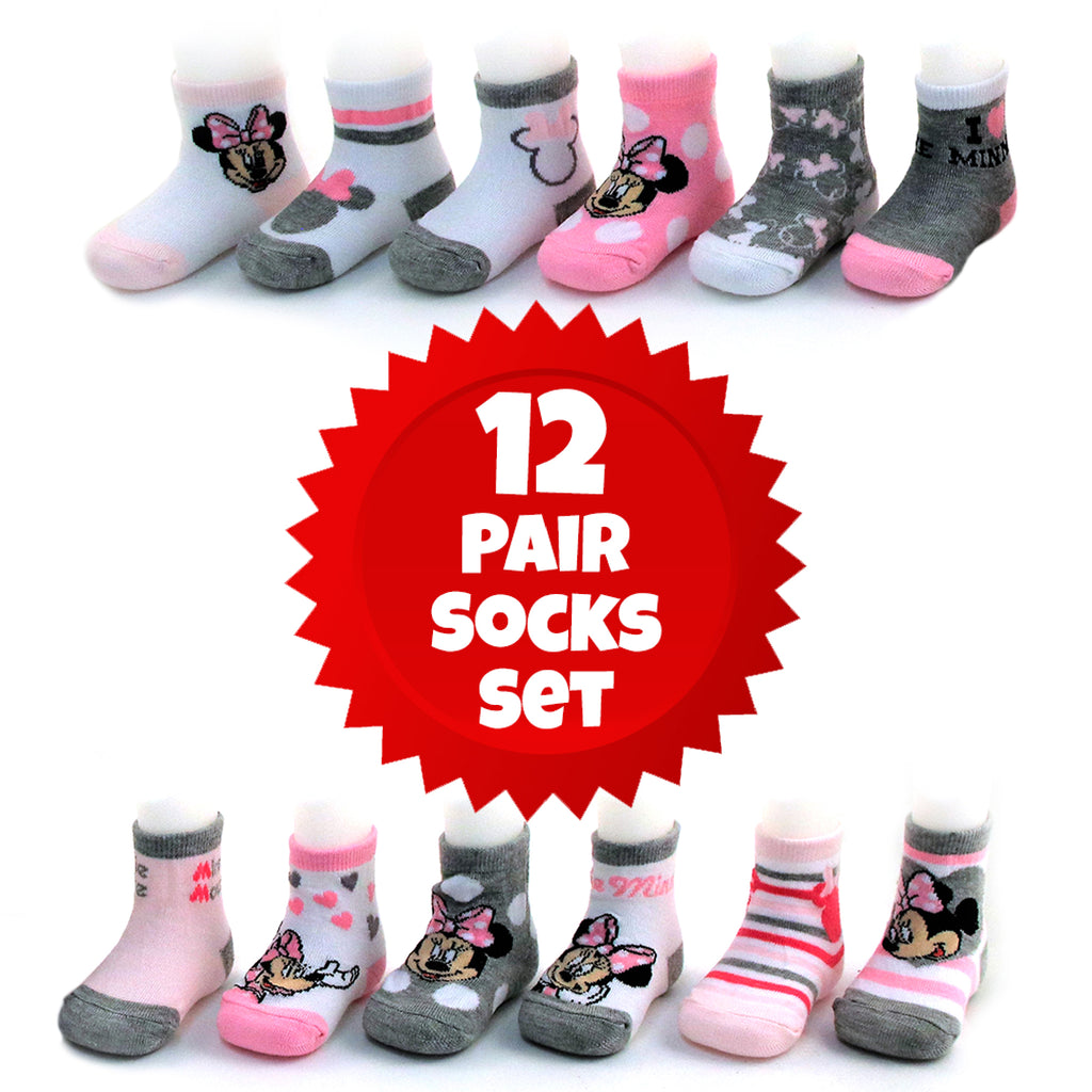 Disney Baby Girls Minnie Mouse Assorted Design 12 Pair Socks Set, Age 0-24 Months - The Accessories Outlet