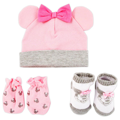 Disney Minnie Mouse Hat, Mitts and Booties Take Me Home Gift Set, Baby Girls, Ages 0-3M - Accessory Place