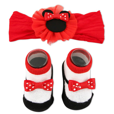 Disney Minnie Mouse Headwrap and Booties Gift Set, Baby Girls, Ages 0-12M - The Accessories Outlet