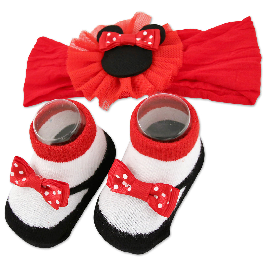 Disney Minnie Mouse Headwrap and Booties Gift Set, Baby Girls, Ages 0-12M - Accessory Place