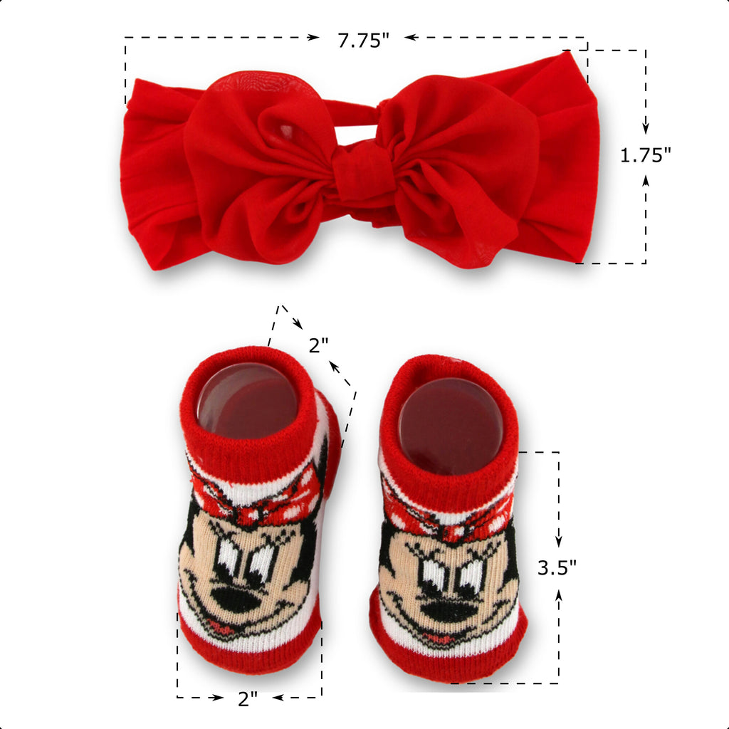 Disney Baby Girls Minnie Mouse Headwrap and Booties Gift Set, Red and White, 0-12M - The Accessories Outlet