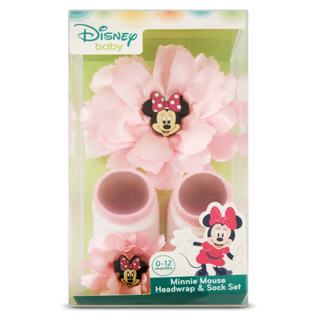 Disney Minnie Mouse Flower Headwrap and Booties Gift Set, Baby Girls, Age 0-12M - Accessory Place
