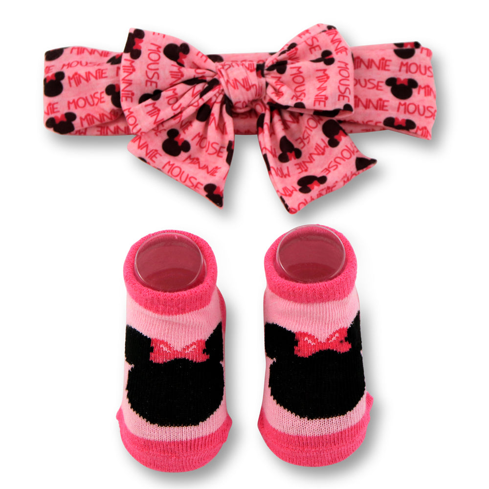 Disney Baby Girls Minnie Mouse Headwrap and Booties Gift Set, Pink, 0-12M - The Accessories Outlet