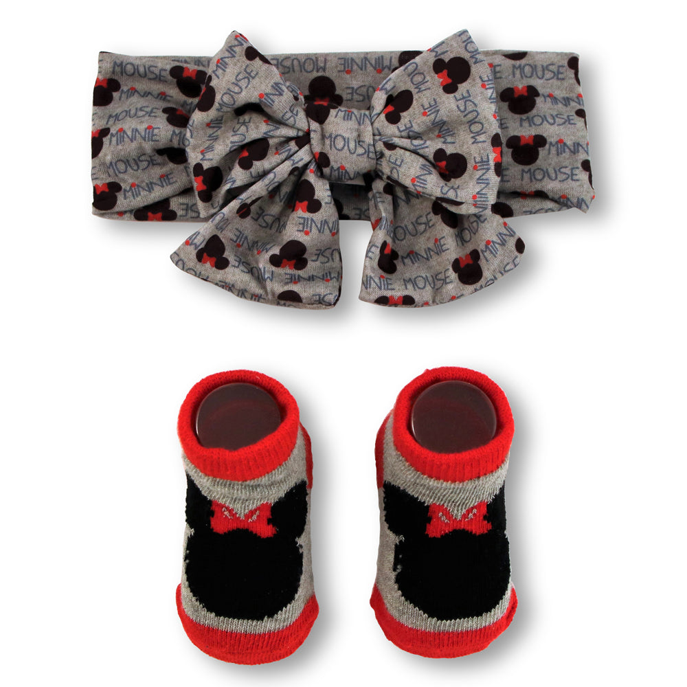 Disney Baby Girls Minnie Mouse Headwrap and Booties Gift Set, Gray and Red, 0-12M - The Accessories Outlet