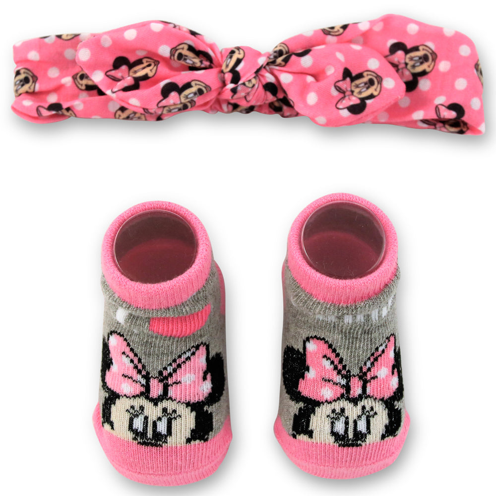 Disney Baby Girls Minnie Mouse Headwrap and Booties Gift Set, Pink and Gray, 0-12M - The Accessories Outlet