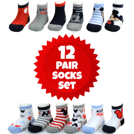 Disney Baby Boys Mickey Mouse Assorted Color Design 12 Pair Socks Set, Age 0-24M - The Accessories Outlet