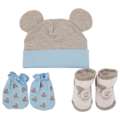 Disney Mickey Mouse Hat, Mitts and Booties Take Me Home Gift Set, Baby Boys, Ages 0-3M - Accessory Place