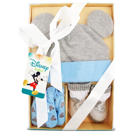 Disney Mickey Mouse Hat, Mitts and Booties Take Me Home Gift Set, Baby Boys, Ages 0-3M - The Accessories Outlet